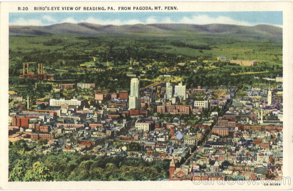 Bird's Eye View of Reading, Pagoda Mt. Penn Pennsylvania