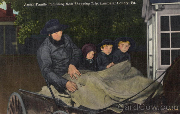 Amish Family returning from shopping trip Lancaster Pennsylvania