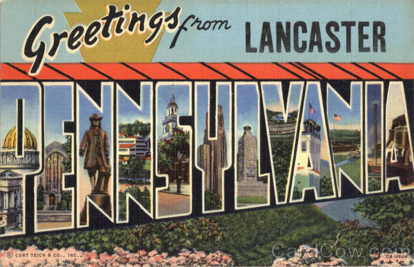 Greetings from Lancaster Large Letter Pennsylvania