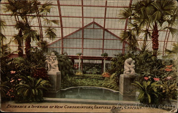 Entrance & Interior of New Conservatory, Garfield Park Chicago Illinois