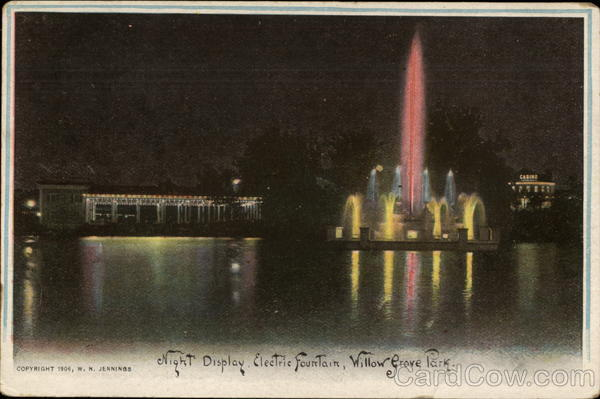 Night Display, Electric Fountain, Willow Grove Park Philadelphia Pennsylvania