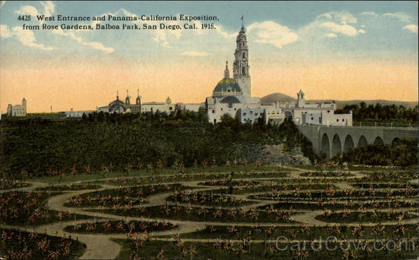 West Entrance and Panama-California Exposition from Rose Gardens, 1915 San Diego