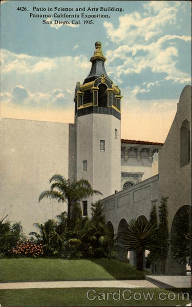Patio in Science and Arts Building, Panama-California Exposition 1915 San Diego