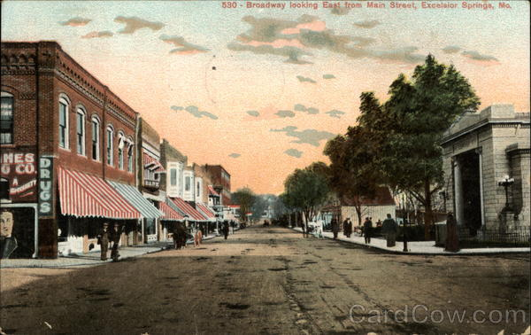 Broadway Looking East from Main Street Excelsior Springs Missouri