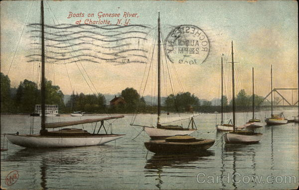 Boats on Genesee River Charlotte New York