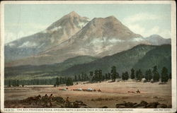 The San Francisco Peaks, with a Wagon Train in the Middle Foreground