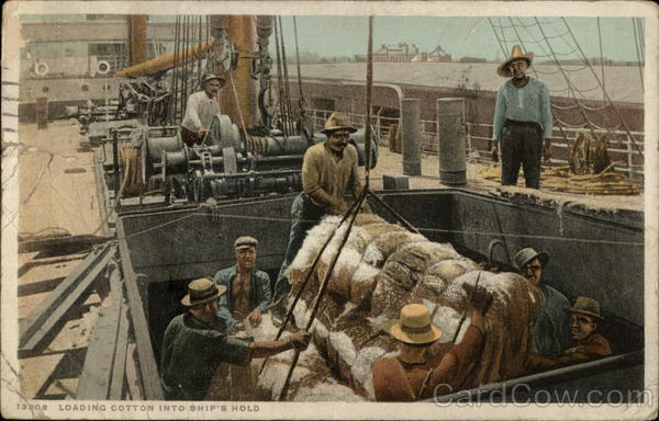 Loading Cotton into Ship's Hold Boats, Ships