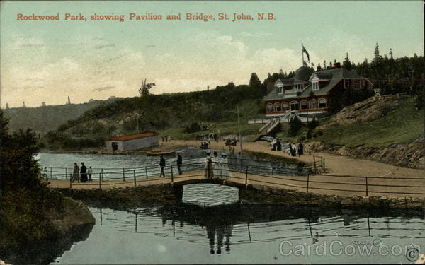 Rockwood Park, showing Pavilion and Bridge Saint John Canada