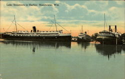 Lake Steamers in Harbor