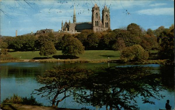 Lake in Branch Brook Park with Sacred Heart Cathedral in Background Newark New Jersey