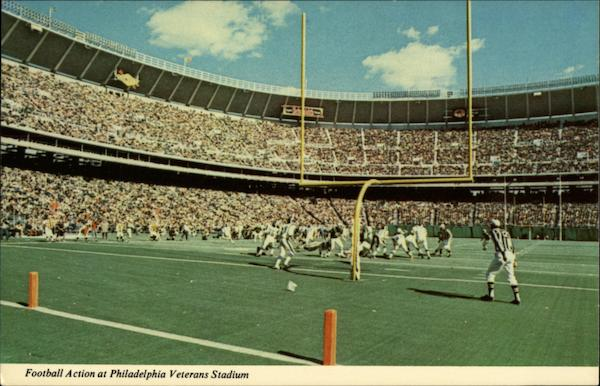Football Action at Philadelphia Veterans Stadium Pennsylvania