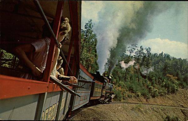 Youthful Passengers on the Rebel Railroad Great Smokey Mountains Tennessee