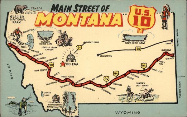 Highway Main Street Of Montana Maps - Us highway 10 map
