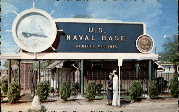 Sign at the Main Entrance to the U. S. Naval Base Norfolk Virginia