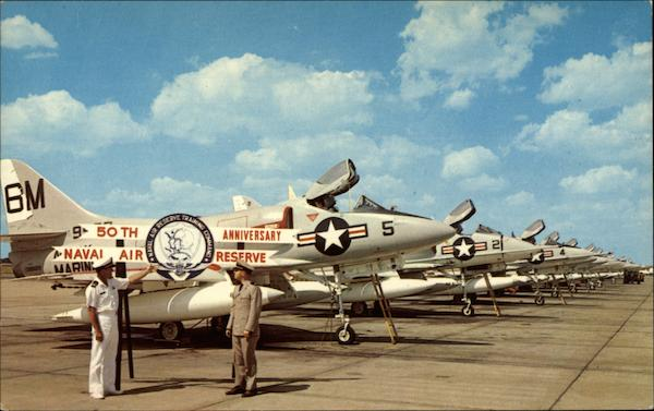 Poised A-4 Skyhawk Jets of the Combat Ready Naval Air Reserve Memphis Tennessee