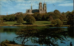 Lake in Branch Brook Park with Sacred Heart Cathedral in Background