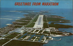 Aerial View of Town and Airport Postcard