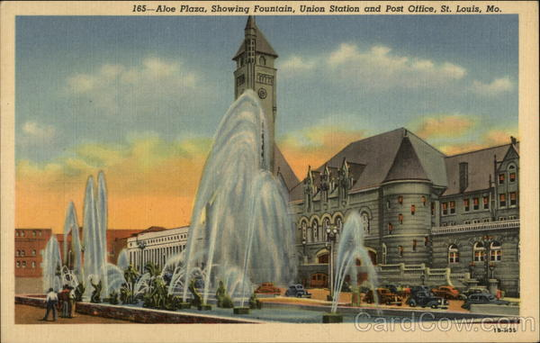 Aloe Plaza, Showing Fountain, Union Station and Post Office St. Louis Missouri