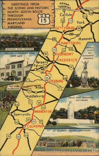 Scenic and Historic U.S. 15 Through Pennsylvania, Maryland and Virginia Vintage Postcard