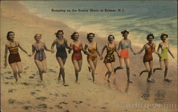 Romping on the Sunny Shore Belmar New Jersey Swimsuits & Pinup