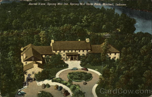 Aerial View, Spring Mill Inn, Spring Mill State Park Mitchell Indiana
