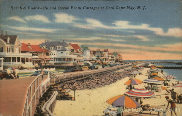 Beach and Boardwalk and Ocean Front Cottages at Cool Cape May, N.J New Jersey