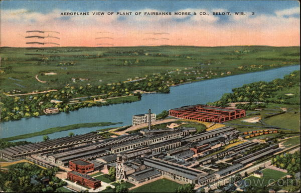 Aeroplane View of Plant of Fairbanks Morse & Co Beloit Wisconsin