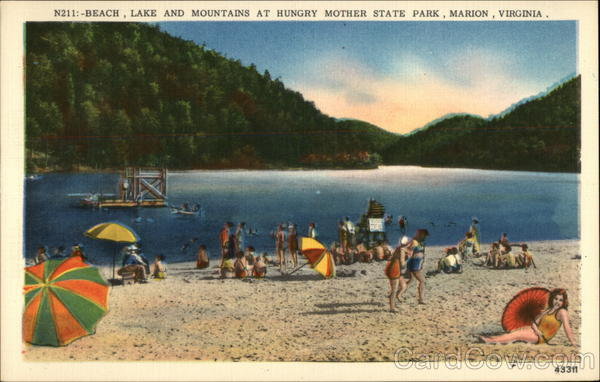 Beach, Lake and Mountain at Hungry Mother State Park Marion Virginia