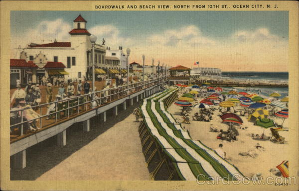 Boardwalk and Beach View, North from 12th St Ocean City New Jersey
