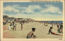 Beach Scene Showing Cottage Line