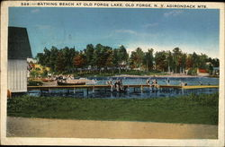 Bathing Beach at Old Forge Lake, Old Forge, N.Y. Adirondack Mts