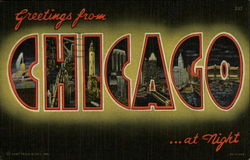Greetings from Chicago...at night Postcard