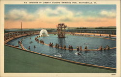 Interior of Liberty Heights Swimming Pool Postcard