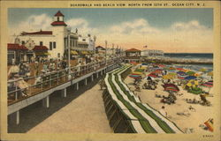 Boardwalk and Beach View, North from 12th St