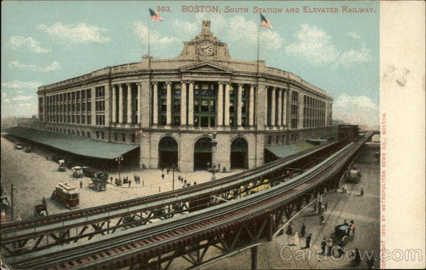 South Station and Elevated Railway Boton Massachusetts