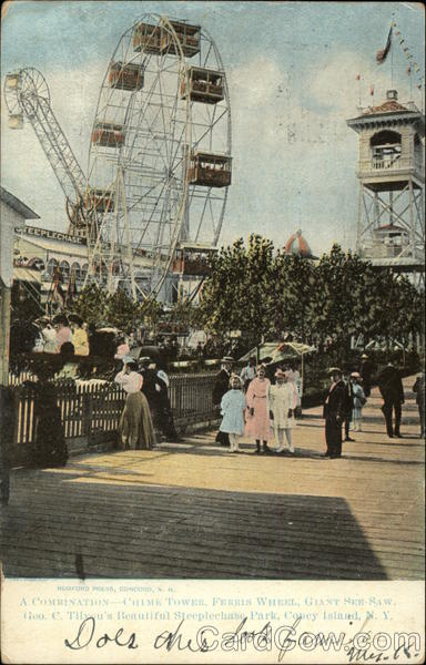 A Combination - Chime Tower, Ferris Wheel, Giant See-Saw Coney Island New York