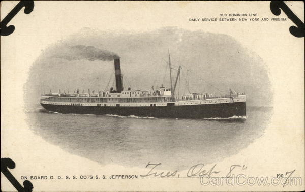 On Board ODSS Co's SS Jefferson, Old Dominion Line