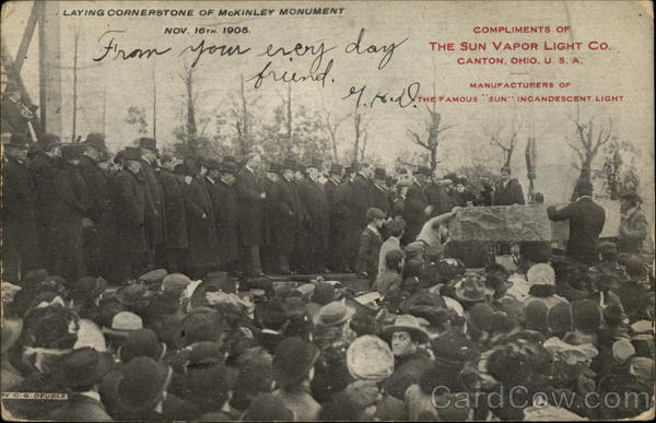 Laying Cornerstone of McKinley Monument Nov. 16th 1905 Canton Ohio