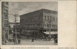 A Busy Corner, Main and Centre Streets Postcard