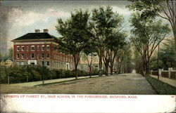 Looking Up Forest St., High School in the Foreground