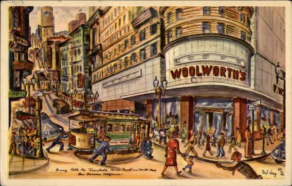 Famous Powell and Market Street Corner San Francisco California