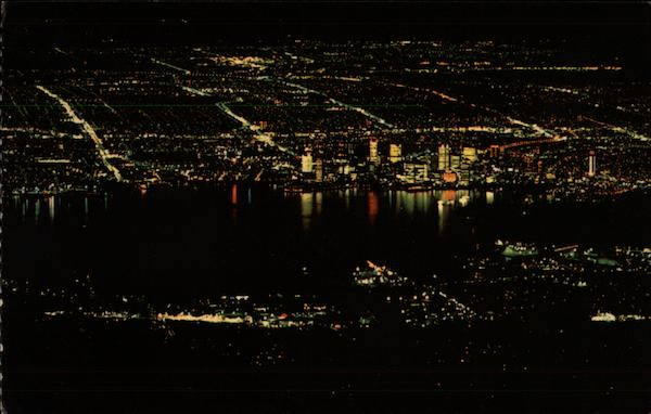 Night View of Vancouver Canada British Columbia