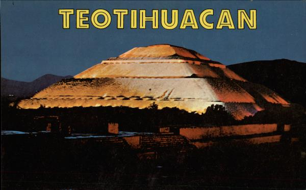 A Pretty Night View of the Pyramid to the Sun San Juan Teotihuacan Mexico