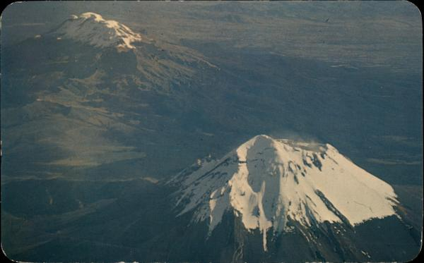 Beautiful Air View of Volcanoes Popocatepetl Mexico
