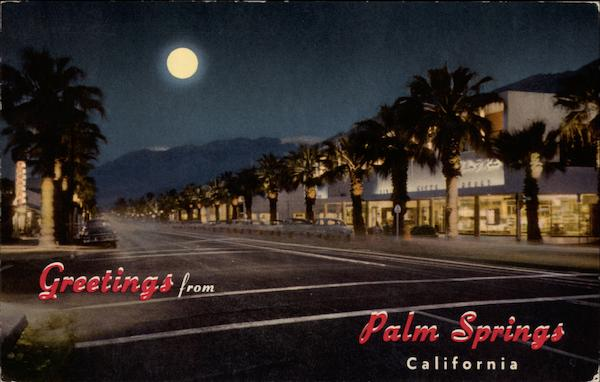 Picturesque Palm Canyon Drive at Night Palm Springs California