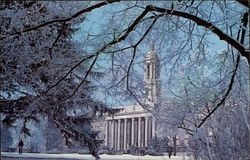 Snowy Scene of Old Main at Pennsylvania State University