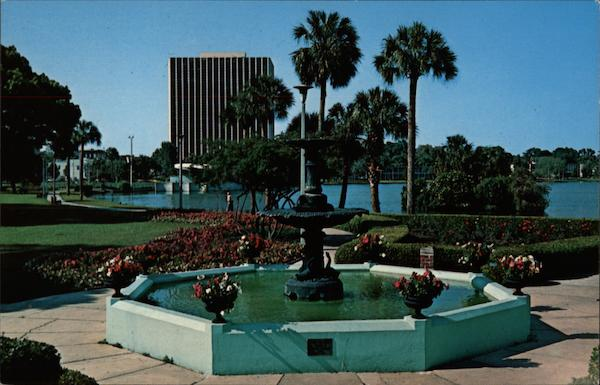 Flowers, Trees and Fountain at Lake Eola, The Action Center Orlando Florida