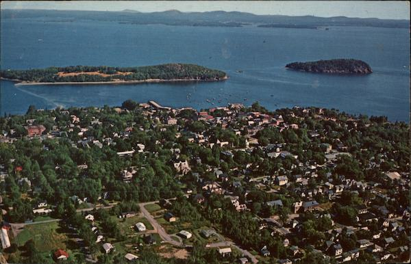 Aerial View of The Village of Bar Harbor Maine