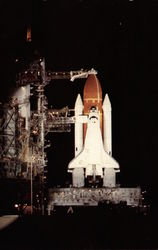Challenger by floodlight on Pad 39A on the eve of the STS-7 mission
