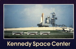 Spaceport USA Tour Buses Transporting Visitors Postcard